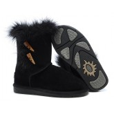 UGG Bottes Outlet Fox Fur Noir 5685 Vente Privee