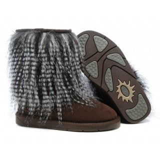 UGG Chaussure Fox Fur 1875 Chocolat Hot Sale