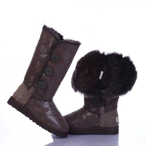 UGG Bottes Bailey Button Triplet Paisley 1873 Chocolat