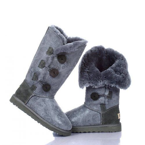 UGG Bottes Bailey Button Triplet Paisley 1873 Gris