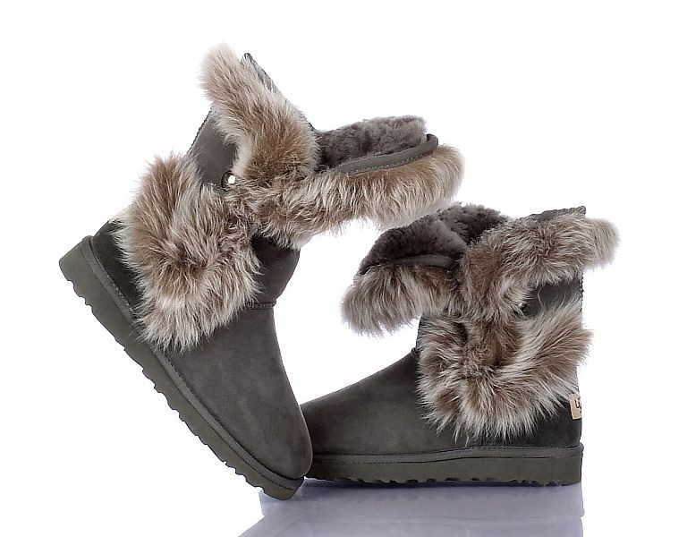 UGG Outlet Bottes Fox Fur 1002 Gris